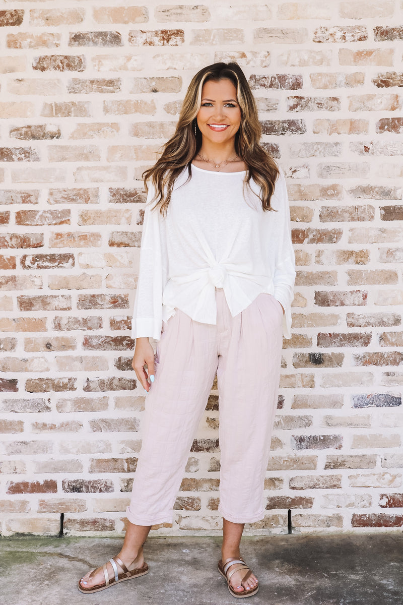 Blush Gingham Cotton Slouch Pants
