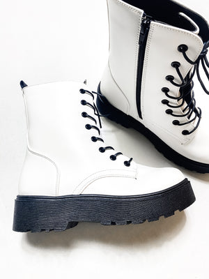 White Combat Lace Up Boot