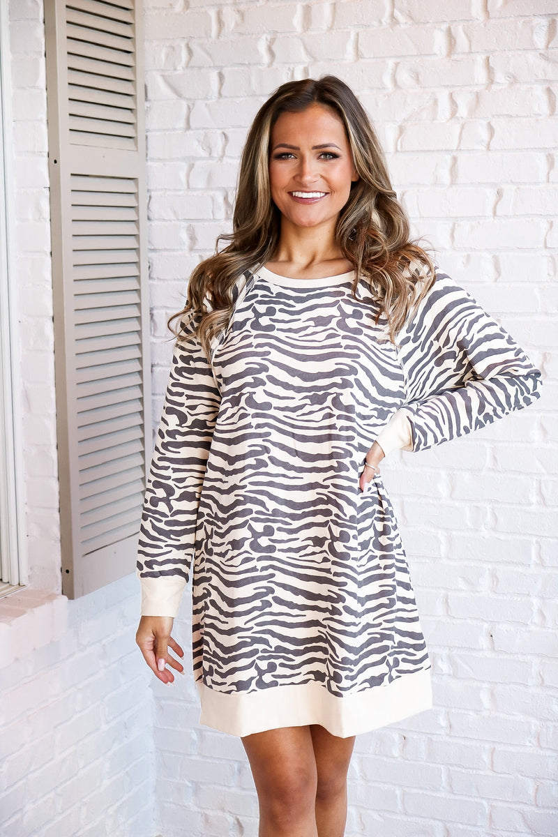 French Terry Animal Print Dress In Cream