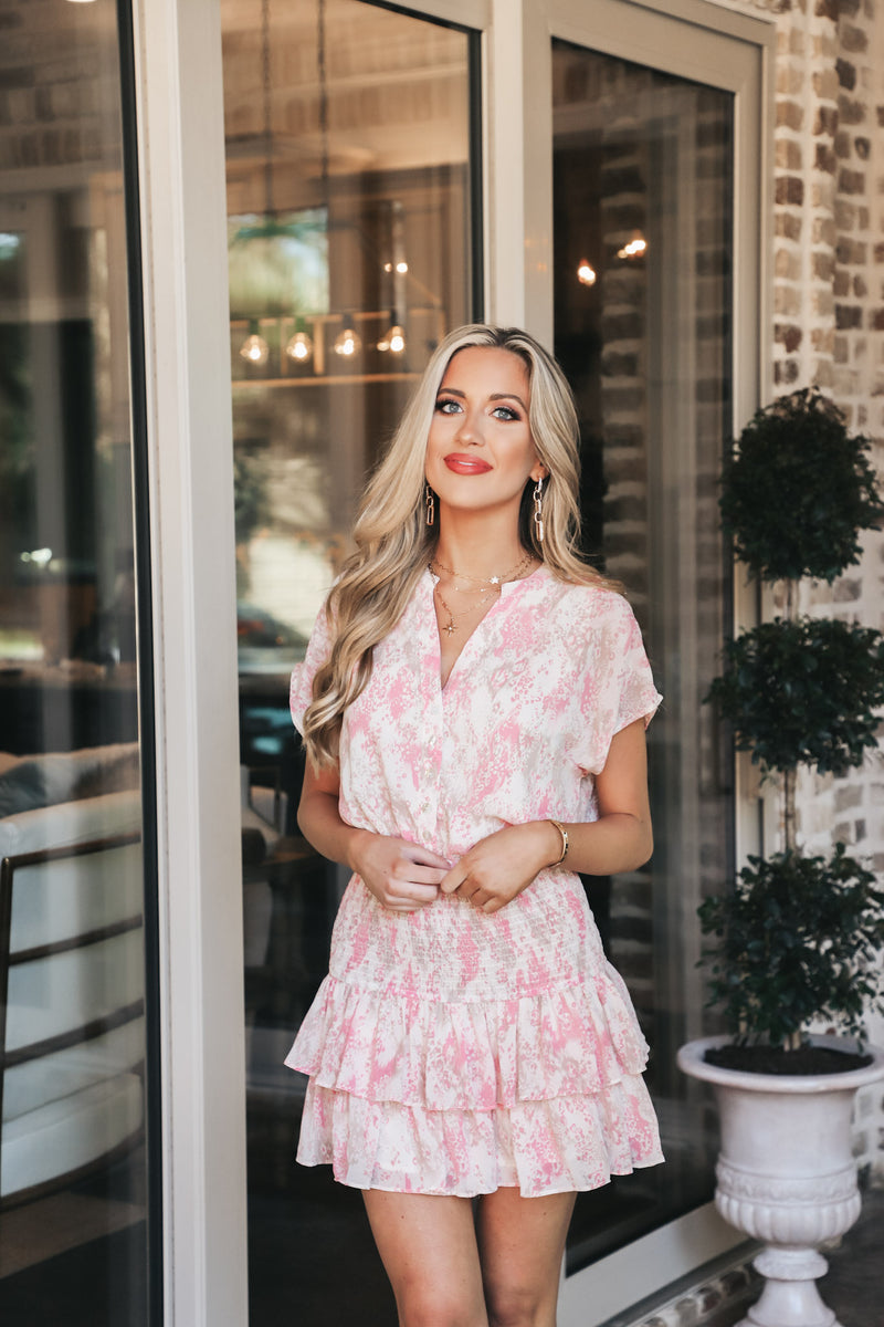 Pink Printed Smocked Dress