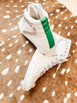 Vintage Havana White with Green Stripe High Top