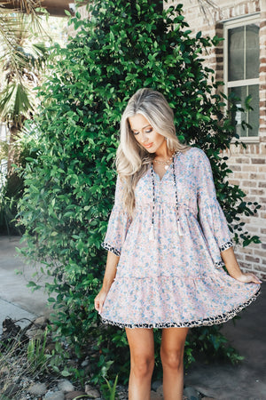 Floral and Animal Print Bell Sleeve Dress