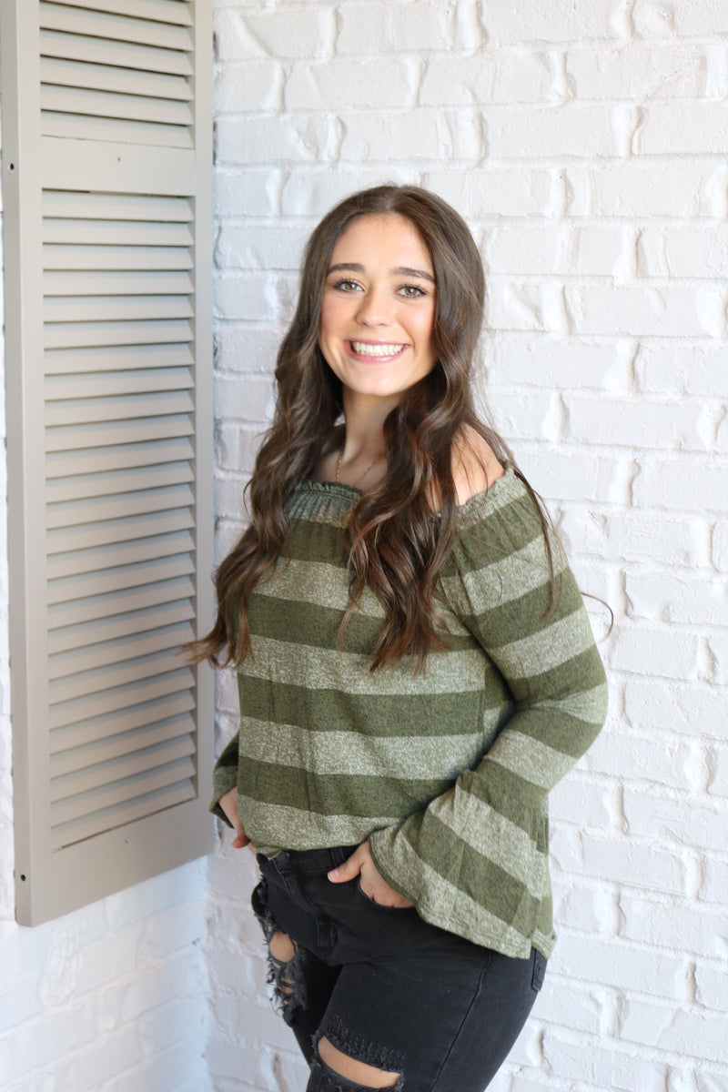 Striped Bell Sleeve Off Shoulder Top