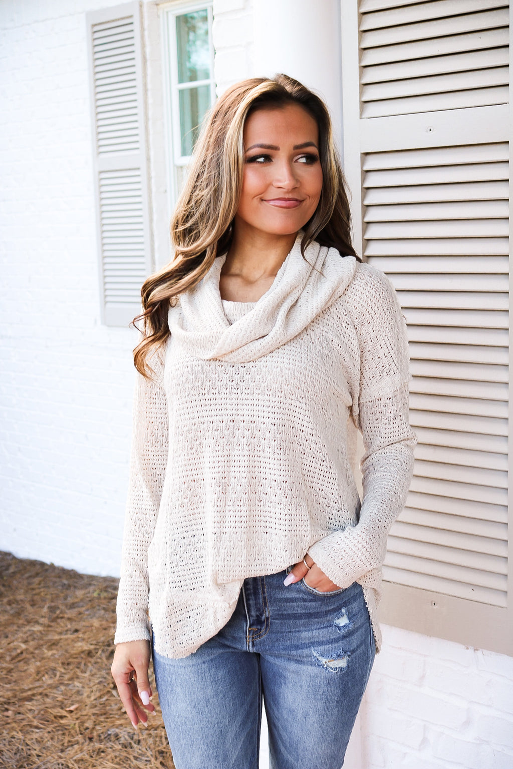 Taupe Cowl Neck Detailed Sweater