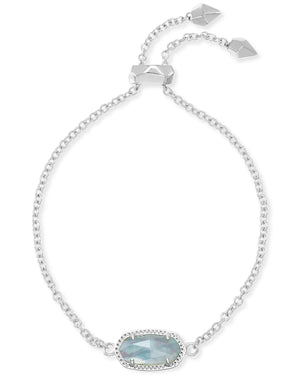 Kendra Scott Elaina Silver Adjustable Chain Bracelet In Light Blue Illusion March Birthstone