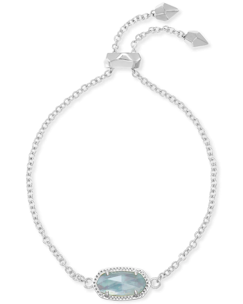 Kendra Scott Elaina Silver Adjustable Chain Bracelet In Light Blue Illusion March Birthstone - Fly Boutique