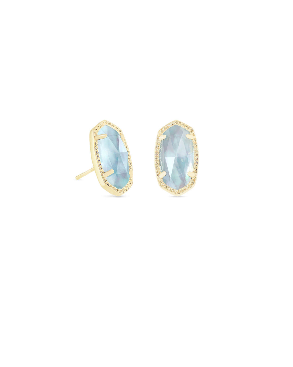 Kendra Scott Ellie Gold Stud Earrings In Light Blue Illusion March Birthstone - Fly Boutique