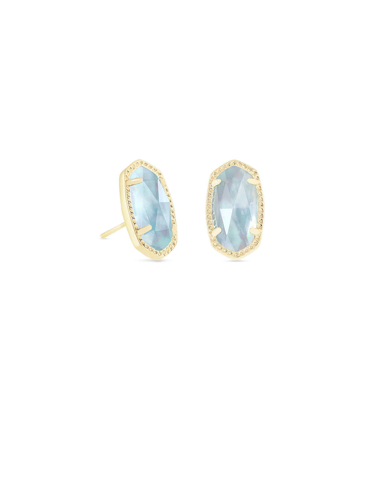 Kendra Scott Ellie Gold Stud Earrings In Light Blue Illusion March Birthstone