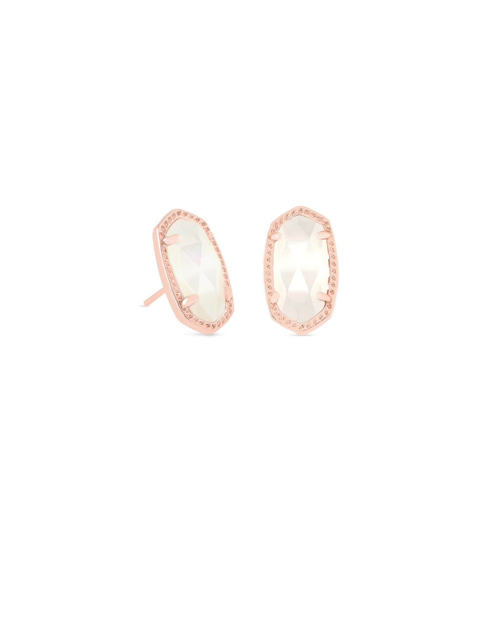 Kendra Scott Ellie Rose Gold Stud Earrings in Ivory Pearl - Fly Boutique