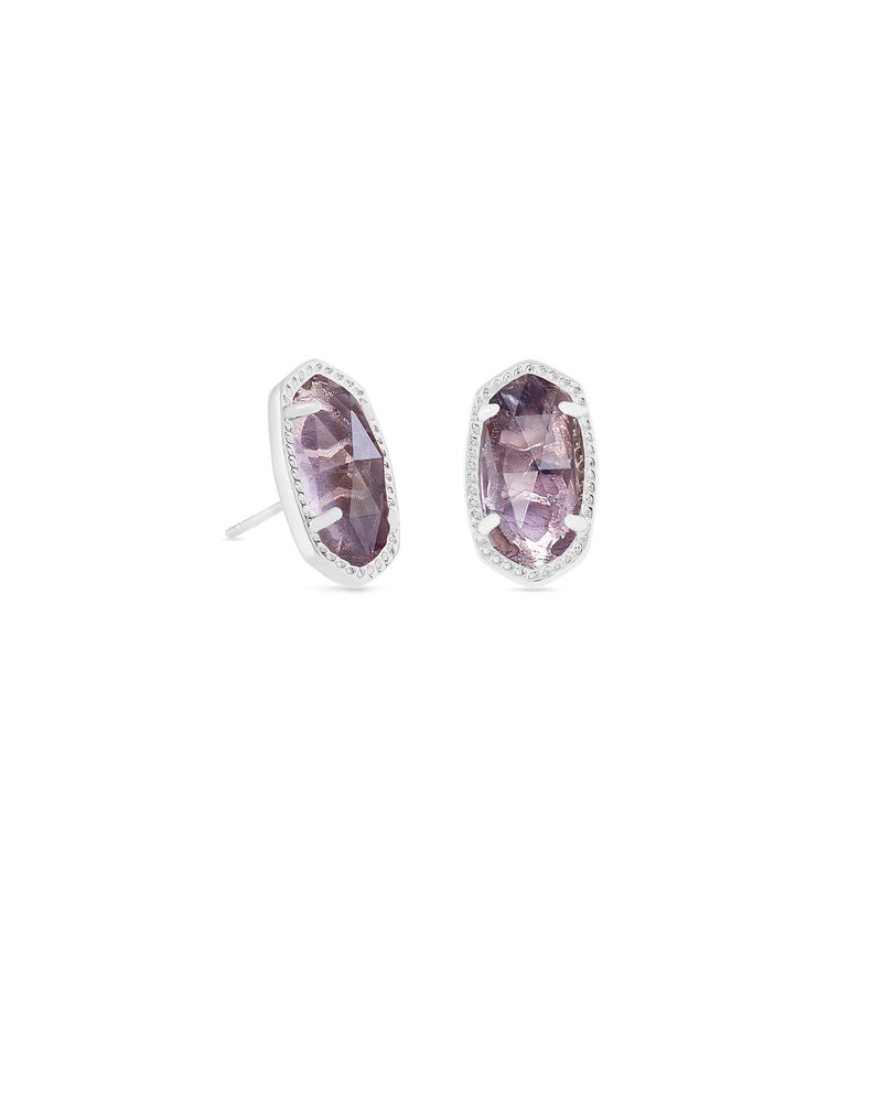 Kendra Scott Ellie Silver Stud Earrings In Amethyst February Birthstone - Fly Boutique