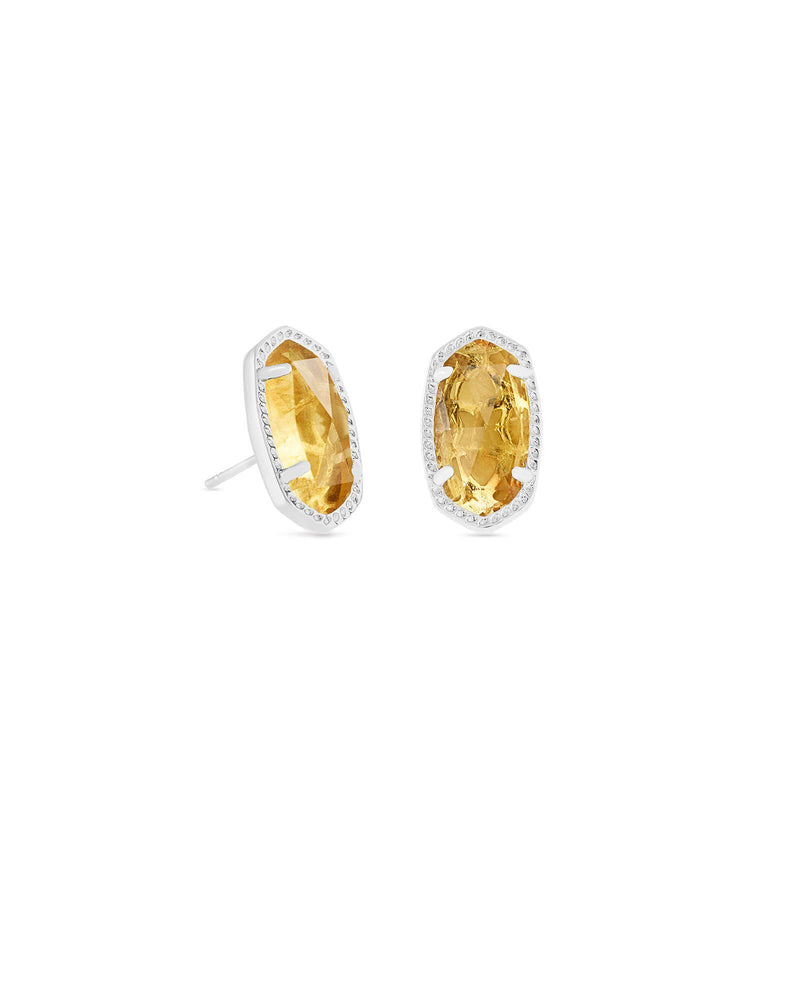Kendra Scott Ellie Silver Stud Earrings In Orange Citrine November Birthstone - Fly Boutique