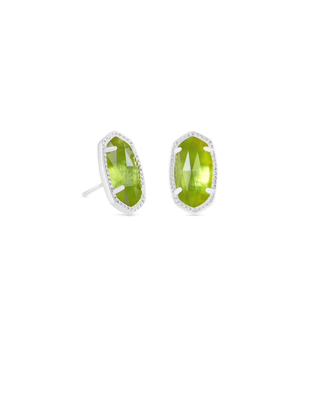 Kendra Scott Ellie Silver Stud Earrings In Peridot August Birthstone - Fly Boutique