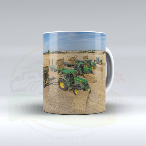 John Deere Tractors and Bale Chasers Ceramic mug.