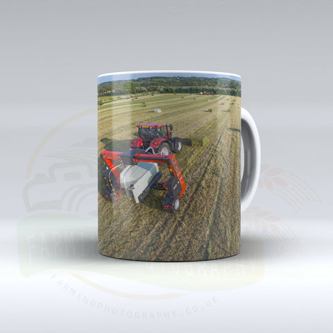 Case IH Tractor and Kuhn Bale Wrapper Ceramic Mug