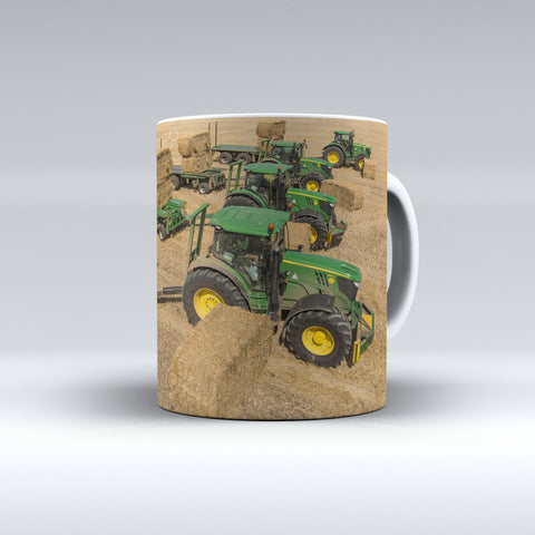John Deere Tractors and Bale Chasers Ceramic Mug