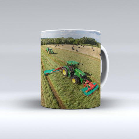 John Deere Tractors Mowing and Baling Silage Ceramic Mug