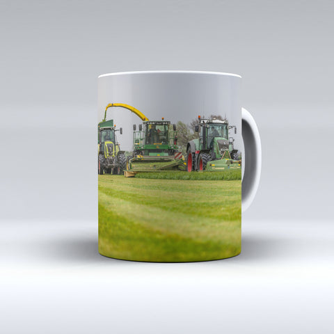 Claas and Fendt Tractors Mowing and Silaging Ceramic Mug