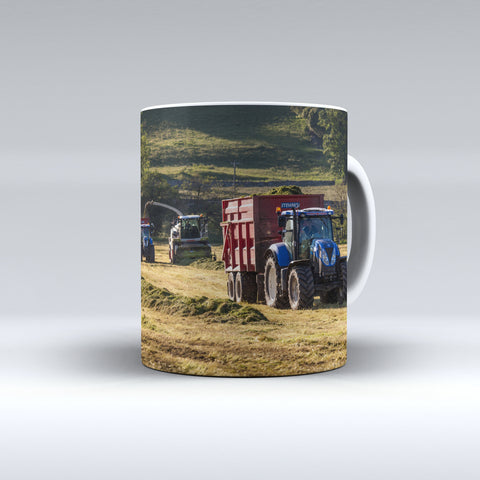 Claas Jaguar and New Holland Tractors Silaging Ceramic Mug