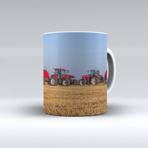 Case IH and Massey Ferguson Tractors Baling Ceramic Mug