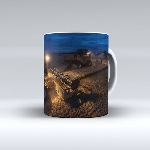 New Holland Combines In Action At Night Ceramic Mug