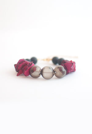 Natural Wood Glass Beads Bracelet - sanwaitsai