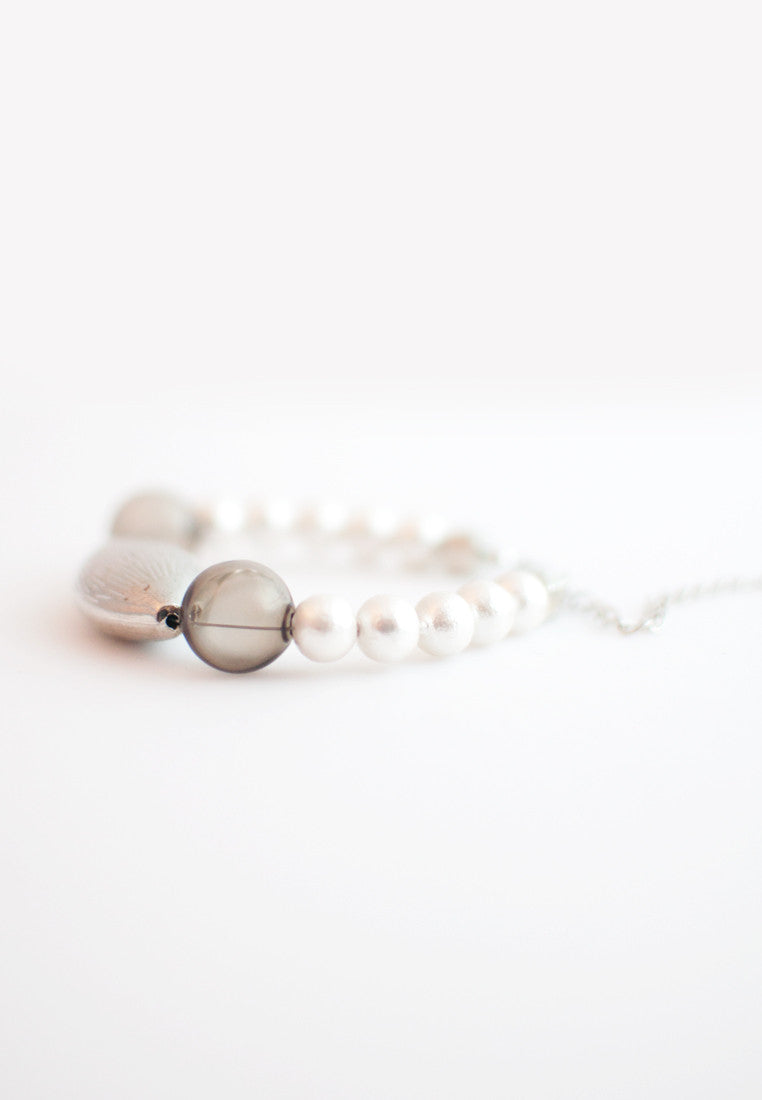 Cotton Pearls Glass Metal Bracelet - sanwaitsai - 3