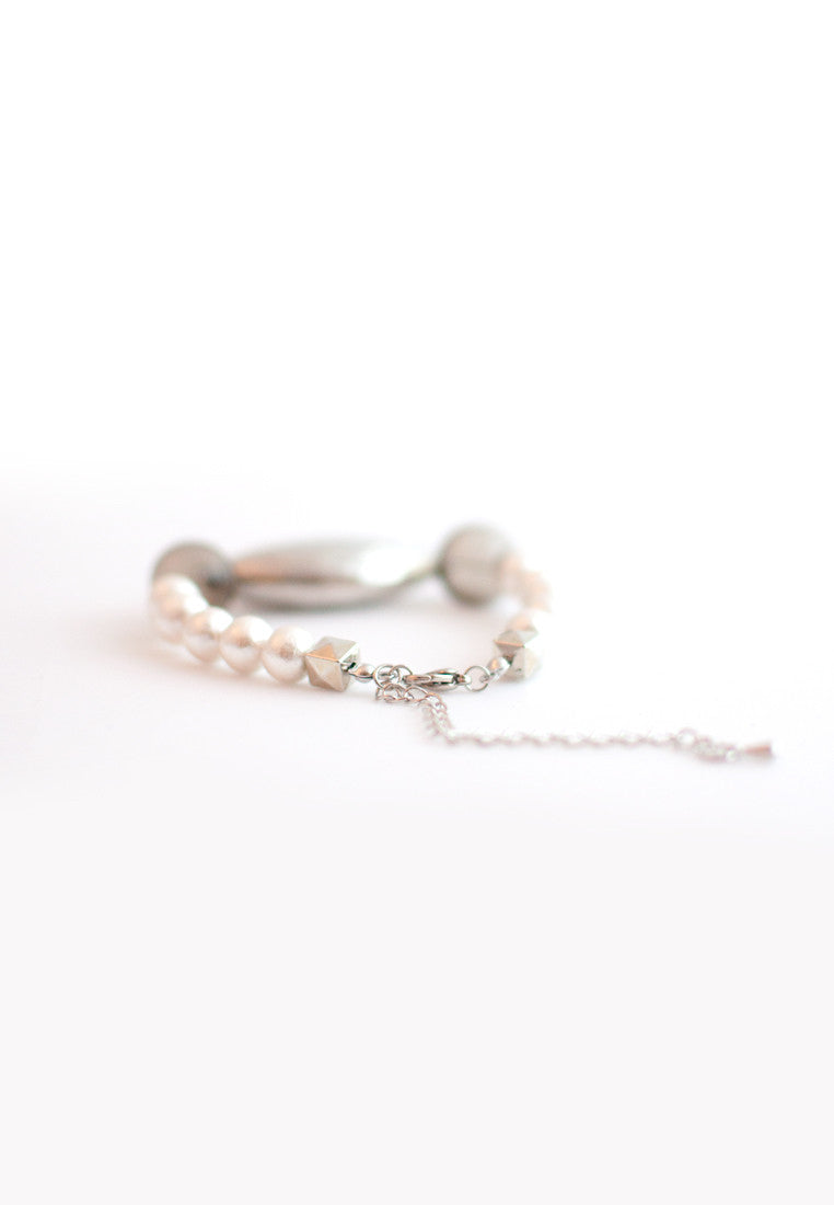Cotton Pearls Glass Metal Bracelet - sanwaitsai - 4
