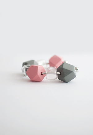 Pink Grey Wood Glass Bracelet - sanwaitsai