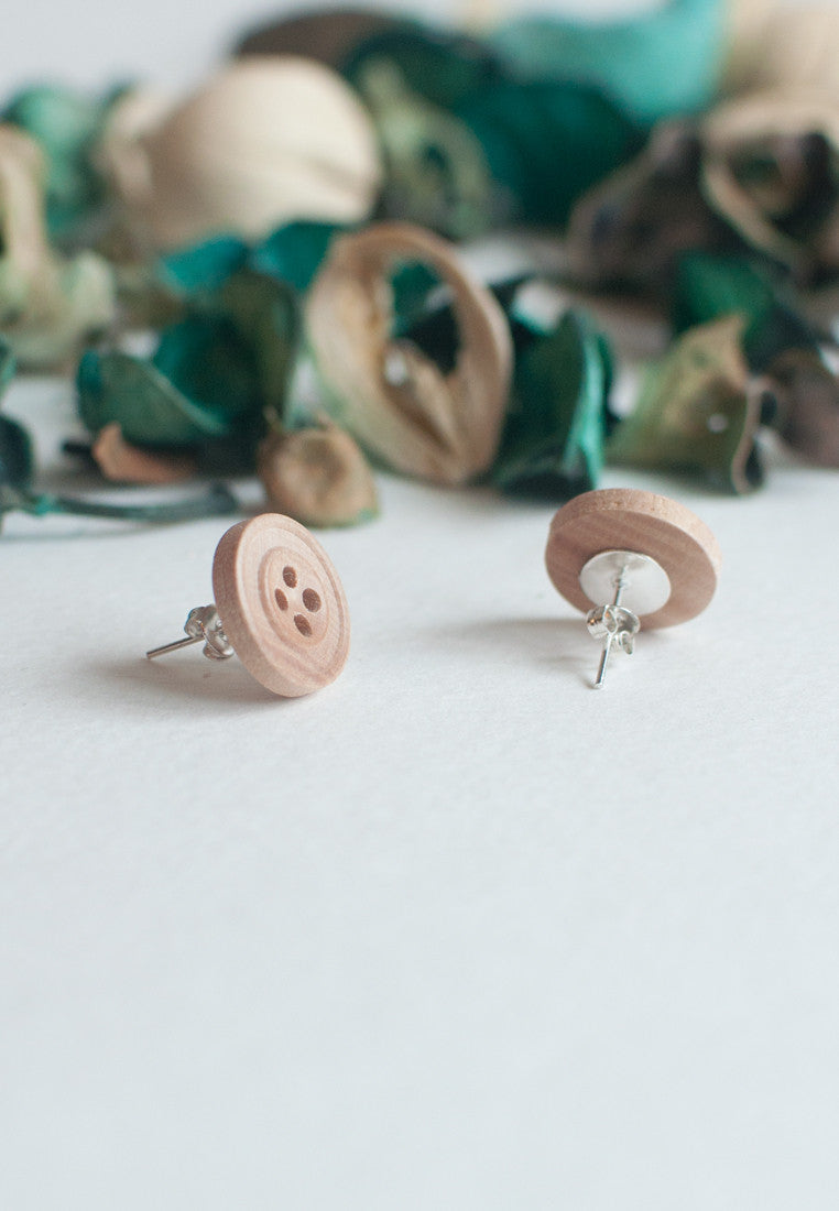 Wooden Button Earrings - sanwaitsai