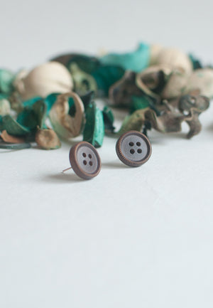 Brown Vintage Button Earrings - sanwaitsai