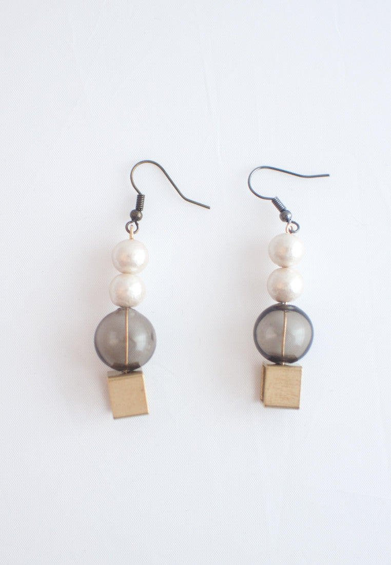 Glass Cotton Pearls Earrings - sanwaitsai - 4