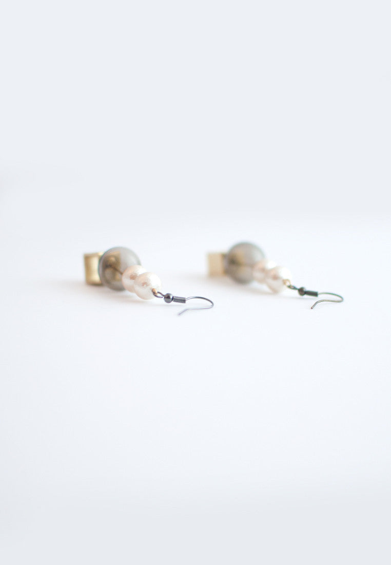 Glass Cotton Pearls Earrings - sanwaitsai - 3