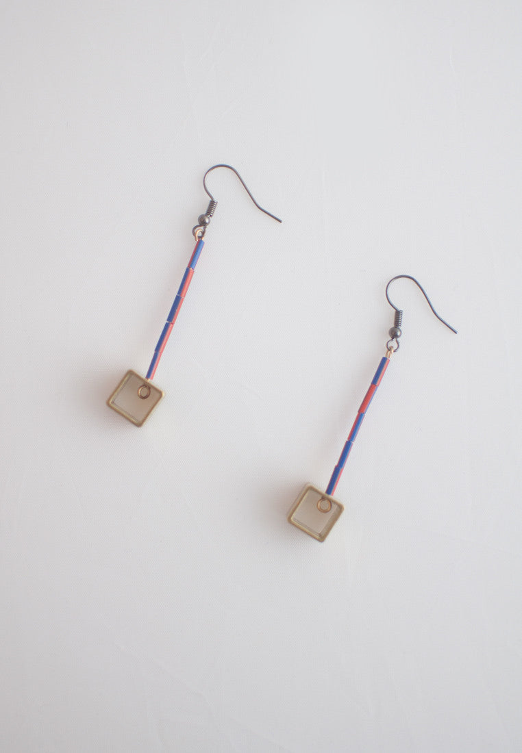 Resin Metal Earrings - sanwaitsai - 4