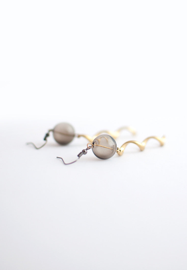 Brass & Glass Beaded Earrings - sanwaitsai