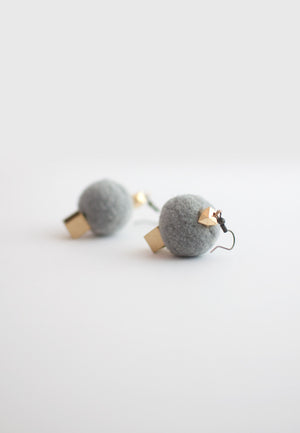 Wool Ball Metal Earrings - sanwaitsai - 1