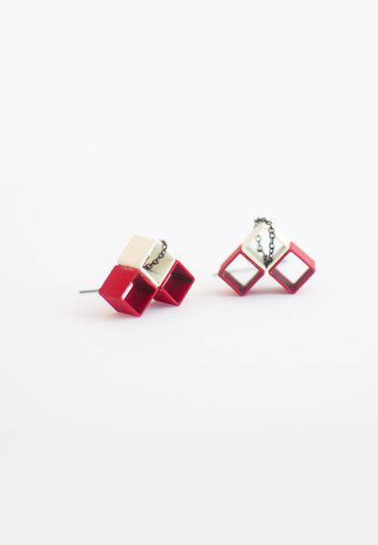 Red White Metal Earrings - sanwaitsai - 1
