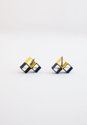 Blue Yellow Metal Earrings - sanwaitsai - 1