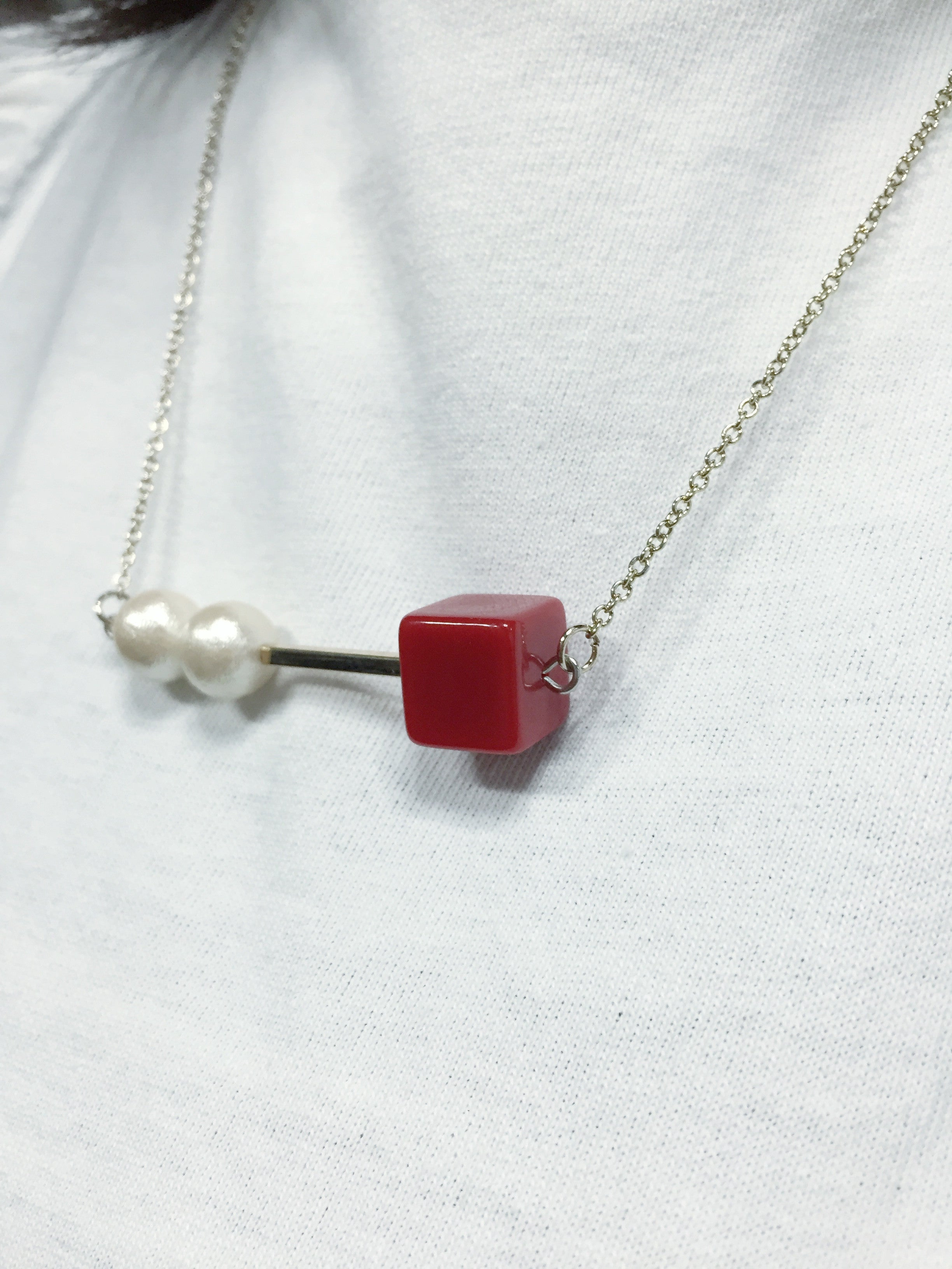 Cotton Beads Metal Cube Necklace