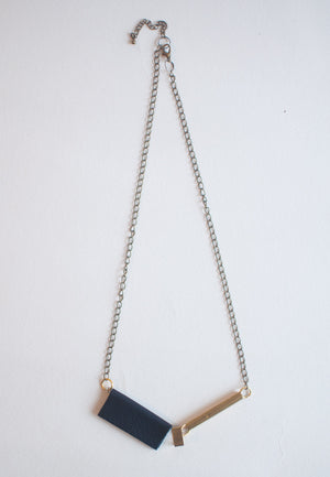 Blue Leather Necklace - sanwaitsai