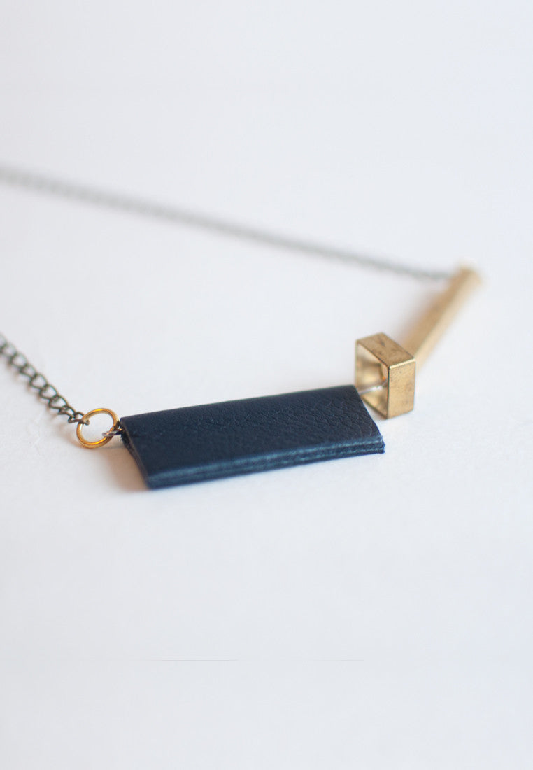 Blue Leather Necklace - sanwaitsai - 3