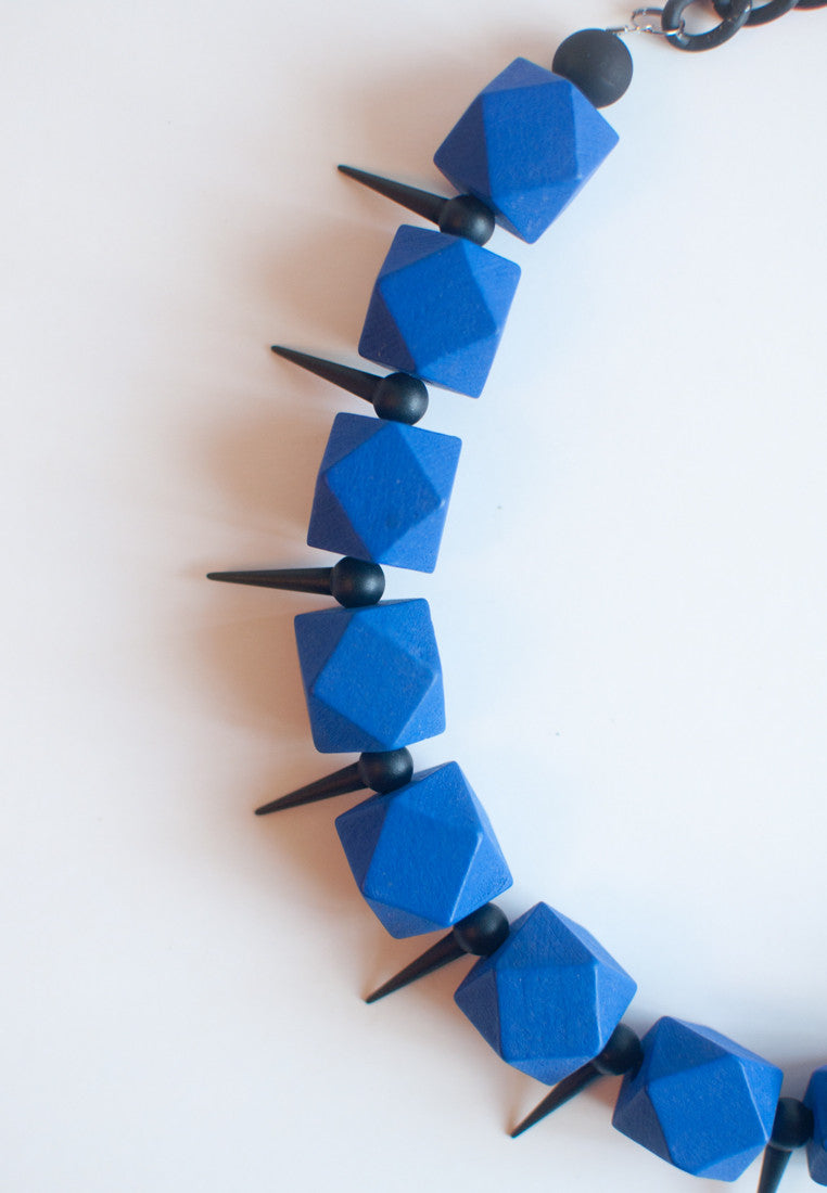 Blue Geometric Beaded Necklace - sanwaitsai