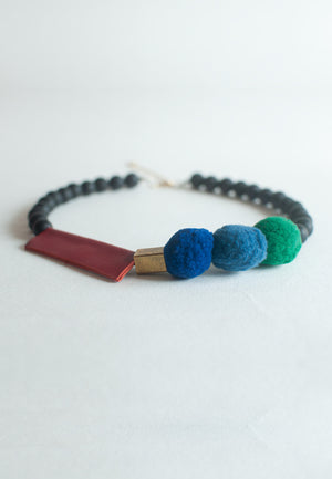 Leather Felt Balls Necklace - sanwaitsai