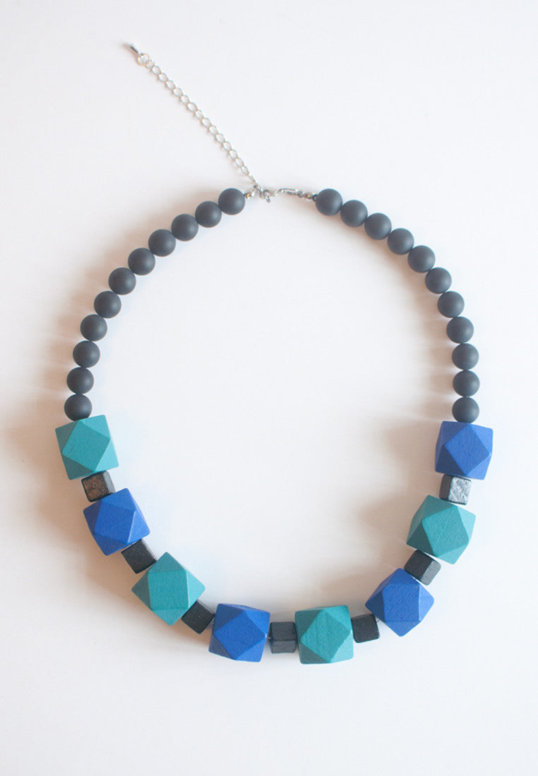 Blue Wooden Statement Necklace - sanwaitsai