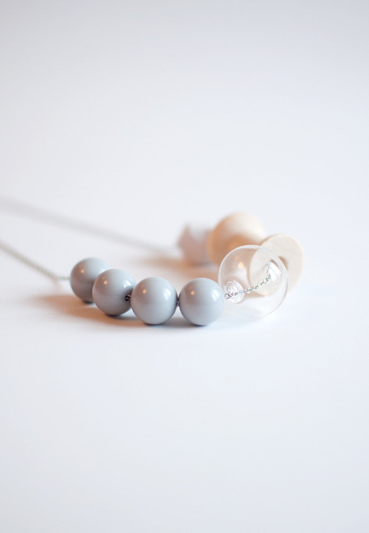 Grey Beads Glass Necklace - sanwaitsai