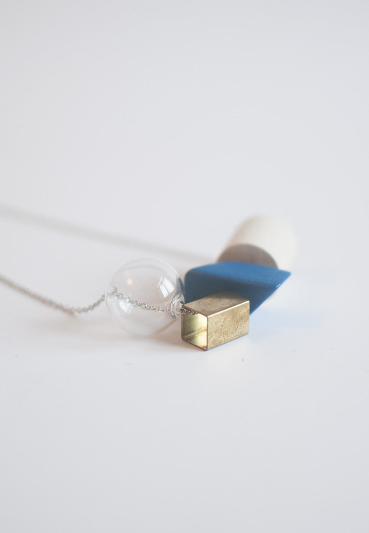 Blue Wood Glass Necklace - sanwaitsai