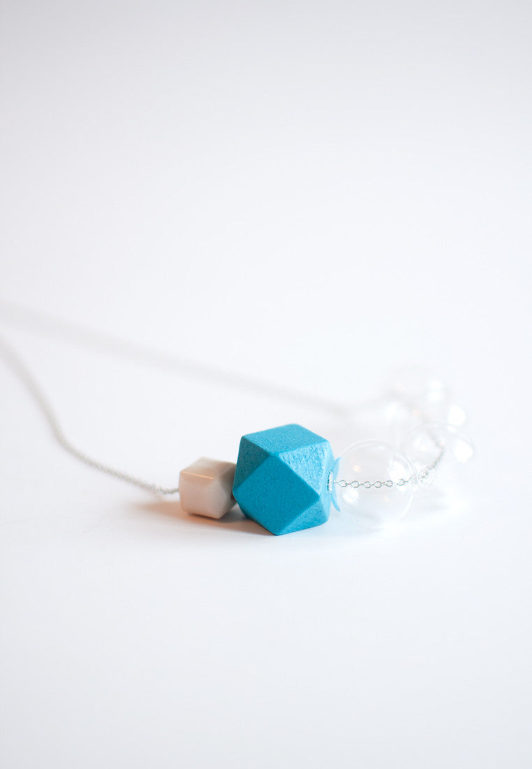 Wood Glass Necklace - sanwaitsai