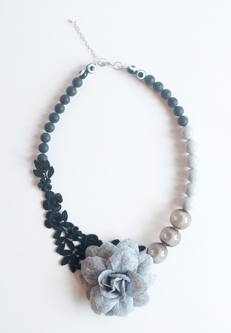 Floral Lace Glass Necklace - sanwaitsai
