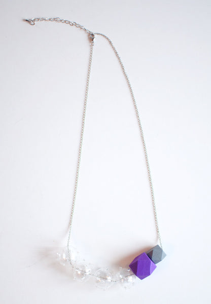 Glass Purple Wood Necklace - sanwaitsai