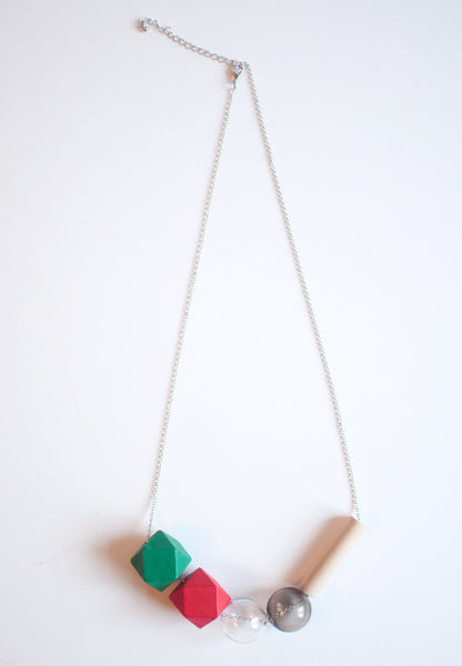Green Red Glass Necklace - sanwaitsai