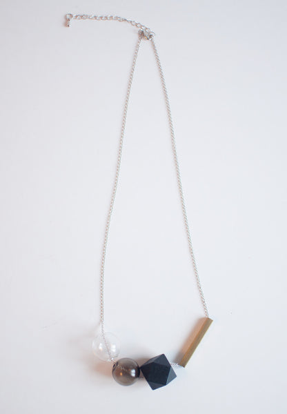 Wood Glass Metal Necklace - sanwaitsai